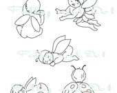 Baby Fairies Digital downloads stamps clip art line drawings pngs brushes