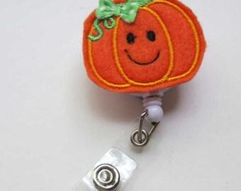 Halloween Happy Pumpkin Badge Reel - Retractable Badge Reel -