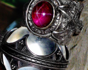 """Fenrir & Hugin and Munin - Blood Red Six Ray Star Ruby Sterling Ring - """"The Philosophers stone"""" - Passion, Protection, Wisdom, Love, Desire"""