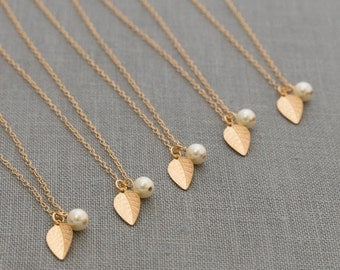 Gold Leaf Jewelry, Bridesmaid Set of 6, Fall Bridesmaid Gift, Jewelry for Wedding, Fall Bridesmaid Necklace