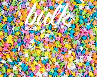 Bulk (800g/4 cups) Pastel Star Quin Sprinkles, Gluten-Free, Vegan, Star Sprinkles, Pastel Sprinkles, Bulk Sprinkles