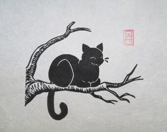 Cheshire Cat - Black Cat Lino Block Print