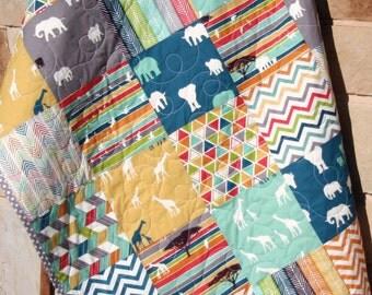 Safari Animals Quilt, Boy Girl Giraffe Elephant Organic Baby Blue Teal Gray Birch Fabric Modern Blanket Triangles Arrows Chevron Nursery