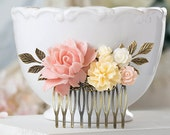 Blush Pink Wedding Bridal Hair Comb Soft Pink Peony Cream Ivory Rose Flower Brass Leaf Branch Collage Comb Vintage Wedding Bridesmaid Gift