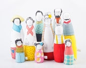 Soft sculptur Family dolls - Six adults and And Four children in yellow turquoise, hot pink , dotted plaid floral- timo handmade eco dolls