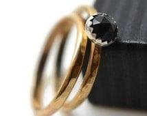 Black Spinel Wedding Set, 14K Gold Fill Band, Engagement Ring, Wedding Band, Set of Two, Natural Spinel Jewelry, Black and Gold