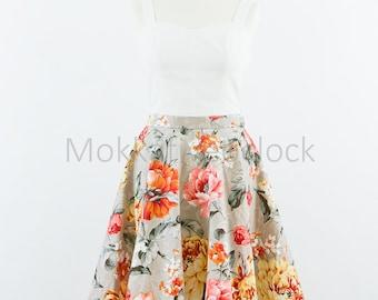 Custom made floral skirt, circle skirt, vintage inspired skirt, Vintage flowers skirt