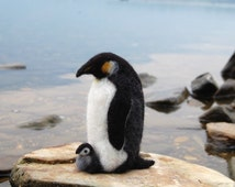 Needle Felted Penguins. Needle Felted Birds. Baby Penguin. Winter Decoration. Miniature Penguins. Penguin Felted. Penguin Sculpture