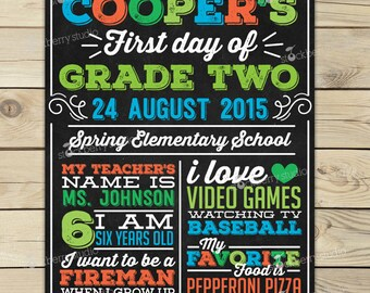 First Day of Grade Two Sign Printable - 1st Day of Grade 2 Sign - Boy First Day of School Chalkboard Sign - First Day of School Sign Blue