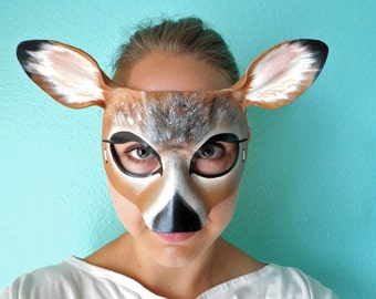 Doe Mask - Leather Deer Mask - Animal Mask - Child and Adult Sizes Available - Animal Costume - Deer Costume - Doe - Woodland Animal - Buck