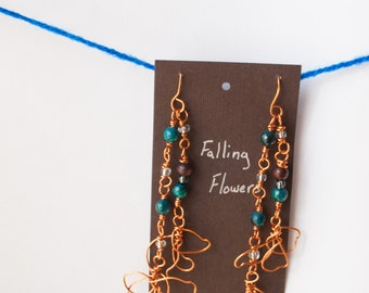 Copper Flower Wire Art Earrings with Blue Australian Jasper and Wood Rounds free-form copper flowers Falling Flowers Boho Chic Art Jewelry