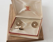 Foster Cufflinks and Tie Bar Clip in Box with Faux Pearl Gold Tone Retro Mid Century Style Men's Groom Wedding Jewelry