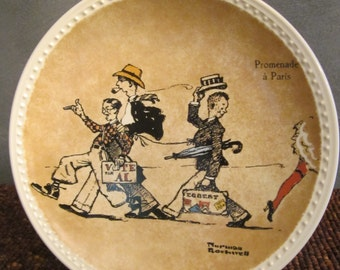 1982 Set of 6 Rockwell On Tour Plates - Rome Paris England - Newell Pottery Division - Edwin Knowles Limited Edition - Bradex Number 84 R70