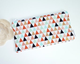 Zip Pouch Triangles. Cosmetic / Make-up Bag. Gadget / Pencil/ Phone Case. Metallic Gold. Mint. Coral. Black