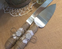 Cake server and knife set, Burlap wedding, Rustic wedding, Wedding cake server and knife, Cake cutting set, Cake server set, Wedding decor