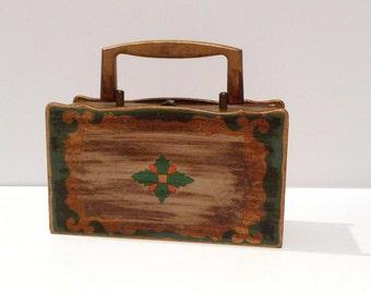 Royal London Wooden Box Bag Vintage Handbag Blue Velvet Lining 1968 Gold Wood Handle Latch Gold Leaf Scallop Edge
