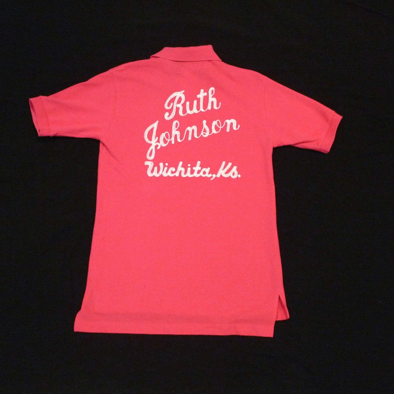 Pink bowling shirt wichita kansas vintage polo by for T shirt printing wichita ks