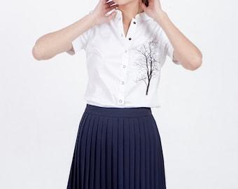 Blue pleated skirt, Blue skirt, navy blue skirt, chiffon skirt, knee length skirt, short skirt, high waisted skirt