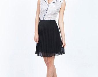 SALE Black pleated skirt - black mini skirt - summer skirt - pleated mini skirt - black skirt - chiffon skirt - evening skirt