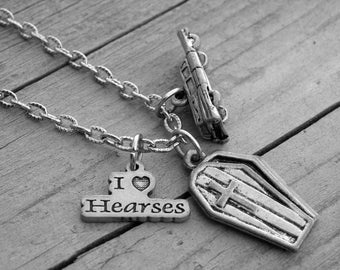 Silver Hearse and Coffin Charm Necklace Halloween Jewelry Coffin Necklace Gothic Goth Horror Graveyard Cemetery Old Classic Cadillac Hearse