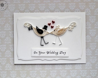 Wedding Congratulations Card - Love Birds - paper quilling - black and white - 3D handmade card