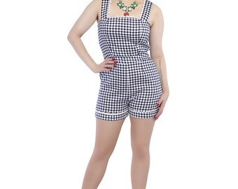 Brand New Vintage 1950s Inspired Navy Gingham Playsuit Rockabilly Pin Up