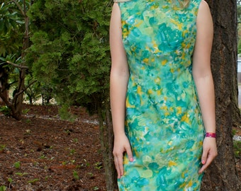 1950's Silk Watercolor Asian Cheongsam Dress and Vest
