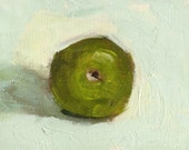 ACEO Original Oil Painting, Green Apple, Kitchen Decor, Food Art