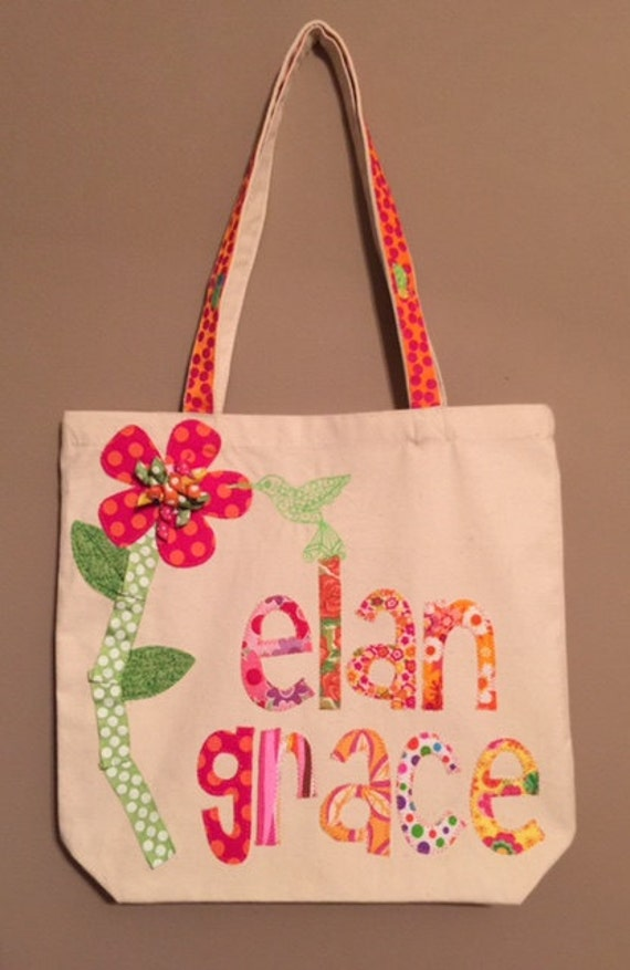 Personalized Pink and Orange Flower Tote Bag