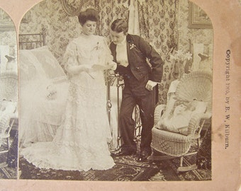Antique Brides Wedding Day Stereoview Card 3D Card Victorian Bride Stereograph Photo 1905 Wedding Card