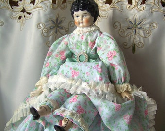 Vintage Porcelain China Head Doll Cloth Body Porcelain Head Pale Green Dress Reproduction 1960s