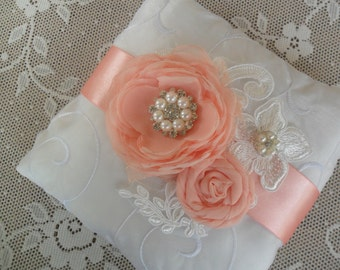 Peach Ring Bearer Pillow, Lace Ring Pillow, Wedding Accessory, YOUR CHOICE COLOR, Peach Wedding Pillow, Floral Ring Pillow, Bridal Pillow