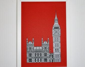 London Print, London Picture, Big Ben drawing, London illustration, art print, Picture of Big Ben, England, Illustration of London