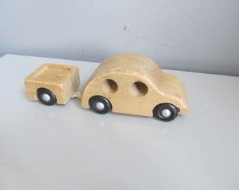 Vintage Creative Playthings Finland Wood Car with Trailer 1960s Mid Century