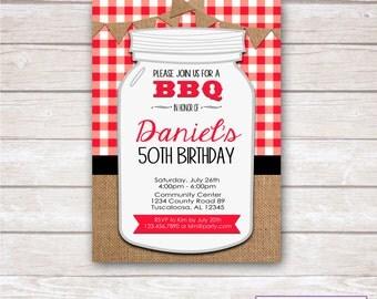 BURLAP & GINGHAM BBQ Birthday Party Invitation- Printable