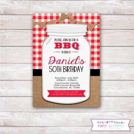 BURLAP GINGHAM BBQ Birthday Party Invitation Printable By