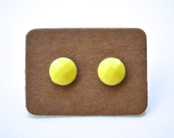 Yellow Faceted Rounds . Studs . Earrings
