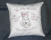 "Punk Kitty Pillow cover "" Lovecats "" 16x16 inch embroidered decorative pillow sham Valentine's Day gift The Cure Love lyrics Cat eye glasses"