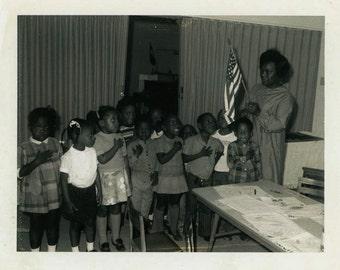 "Vintage Photo ""Pledge of Allegiance"" African American Snapshot Photo Antique Photo Black & White Photograph Paper Ephemera Vernacular - 154"