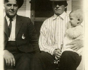 "Vintage Photo ""Double Godfathers"" Baby Snapshot Photo Old Antique Photo Black & White Photograph Found Photo Paper Ephemera Vernacular - 154"