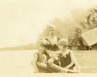 "Vintage Photo ""Swimming Buddies"" Bathing Suit Snapshot Photo Old Antique Photo Black & White Photograph Found Photo Paper Ephemera - 127"