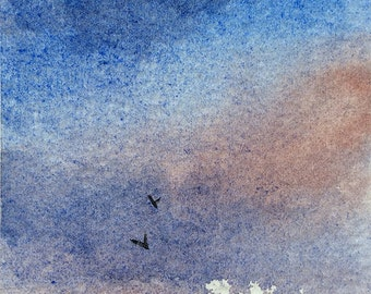 Original ACEO watercolor painting - Piercing light