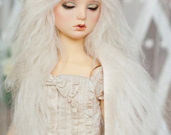 "10in"" Long Lily White Wavy Tibetan Mohair Wig for Volks BJD SD Dolls"