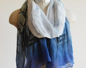 bamboo print scarf, screen printed silk chiffon scarf, sly blue ombre scarf, asian design scarf
