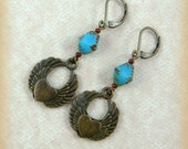 Turquoise Earrings - Winged Heart Charm Earrings - Brass Heart with Wings Charm with Turquoise Picasso Bead - Casual Bohemian Earrings