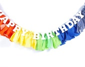 Rainbow Birthday Party Banner - ROYGBIV - Highchair Banner - Birthday Decor - Party - Rag Banner - Photography Prop
