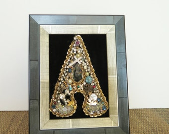 Vintage Jewelry Letter A  Collage Art Picture Assemblage Framed