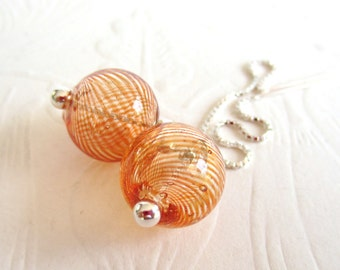 Ear Threads-Orange Glass Bubbles-Sterling Silver
