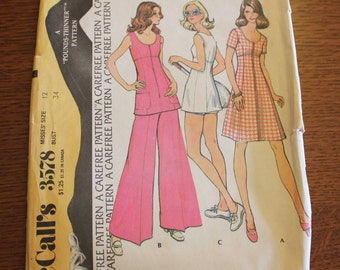 Vintage 1973 McCall's Misses Dress or Tunic and Pants or Shorts Paper Pattern Uncut