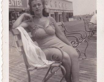 Vintage 1940's Pretty swimsuit woman sitting on boardwalk DIGITAL DOWNLOAD
